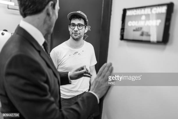 MEYERS Episode 639 Pictured Host Seth Meyers talks with musician Jack Antonoff backstage on January 23 2018