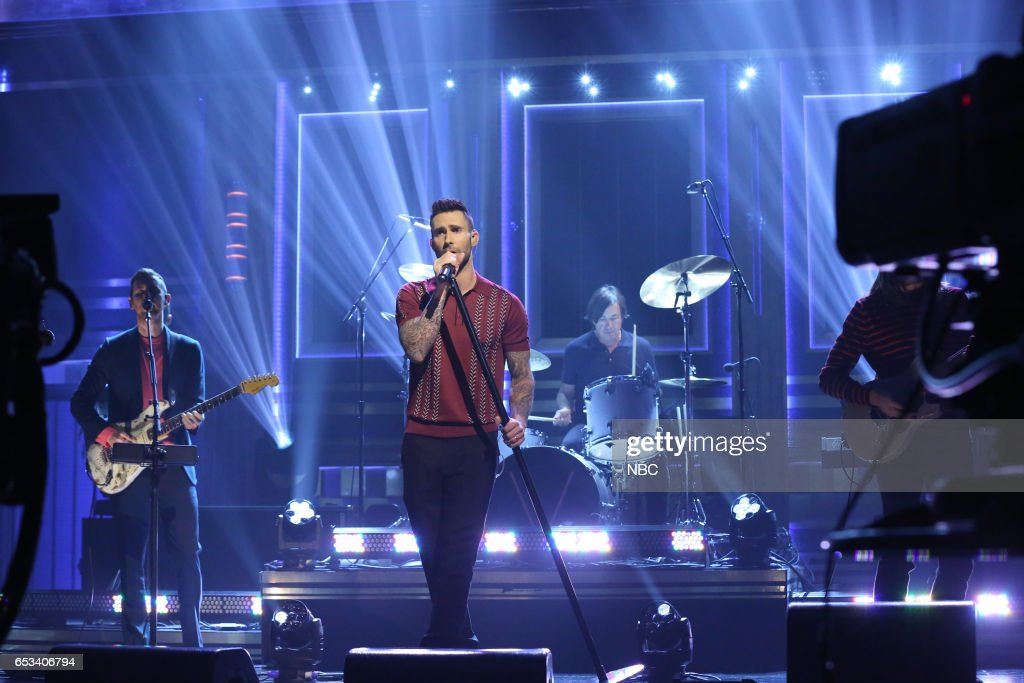 Jesse Carmichael and Adam Levine of musical guest Maroon 5 perform on March 14, 2017 --