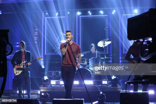 Jesse Carmichael and Adam Levine of musical guest Maroon 5 perform on March 14 2017