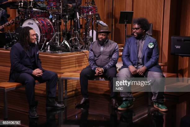 Mark Kelley Black Thought and Questlove of 'The Tonight Show' band during a sketch on March 14 2017