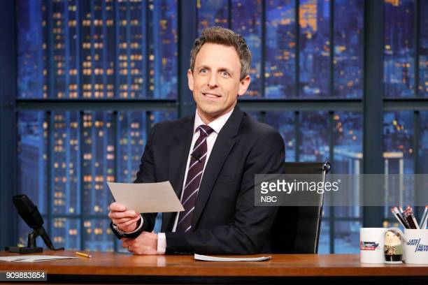 Host Seth Meyers at his desk on January 24 2018