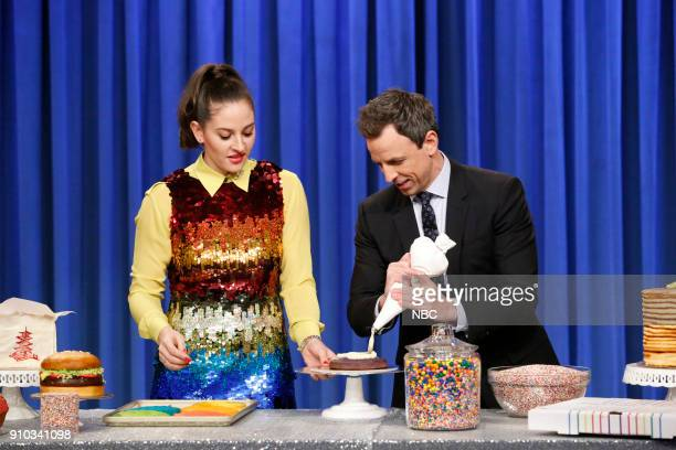 Baker Amirah Kassem and host Seth Meyers during a cooking segment on January 25 2018