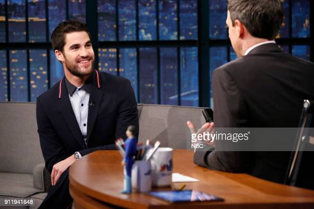 Actor Darren Criss during an interview with host Seth Meyers on January 29 2018