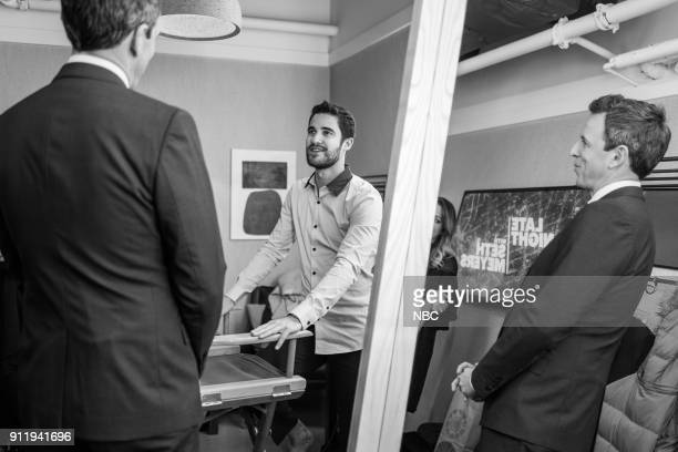 MEYERS Episode 642 Pictured Actor Darren Criss talks with host Seth Meyers backstage on January 29 2018