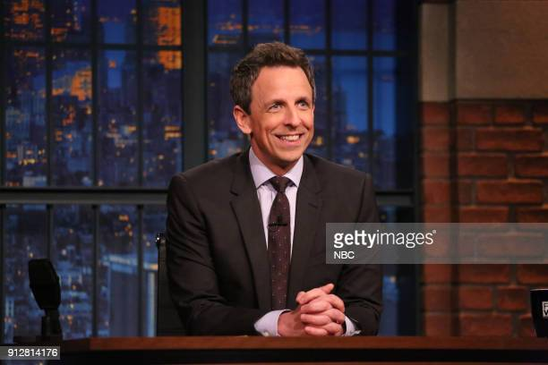 Host Seth Meyers at his desk on January 31 2018