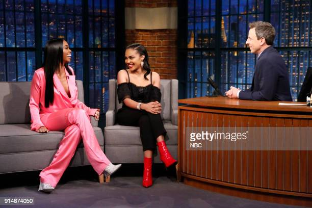 Actress Nafessa Williams and China Anne McClain during an interview with host SEth Meyers on February 5 2018