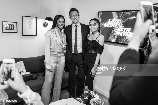 MEYERS Episode 646 Pictured Actress Nafessa Williams and China Anne McClain with host Seth Meyers backstage on February 5 2018