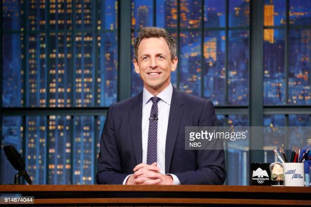 Host Seth Meyers at his desk on February 5 2018