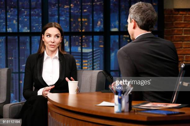 Comedian Whitney Cummings during an interview with host Seth Meyers on February 6 2018