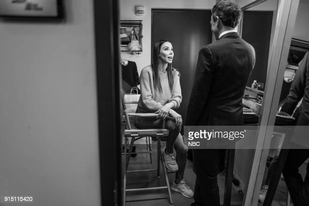 MEYERS Episode 647 Pictured Comedian Whitney Cummings talks with host Seth Meyers backstage on February 6 2018
