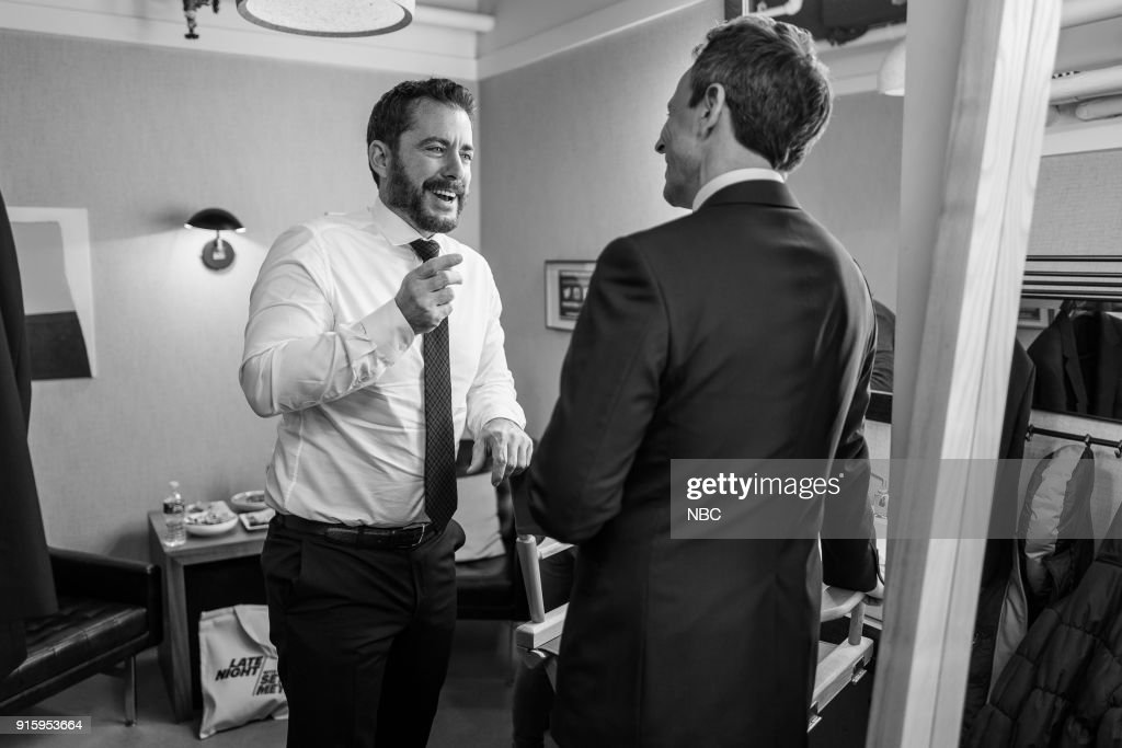 MEYERS -- (EXCLUSIVE COVERAGE) -- Episode 649 -- Pictured: (l-r) Actor Jason Jones talks with host Seth Meyers backstage on February 8, 2018 --