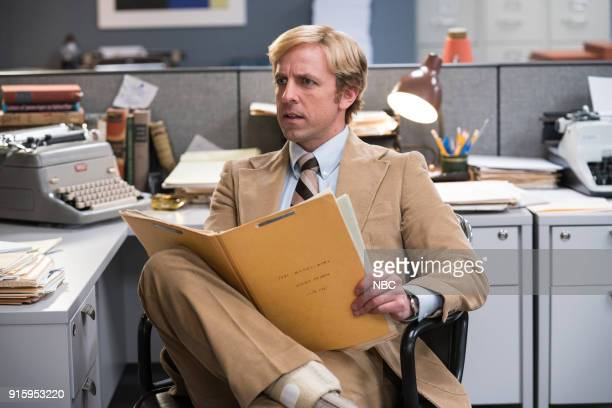 Host Seth Meyers during the 'Newspaper Movie' sketch on February 8 2018