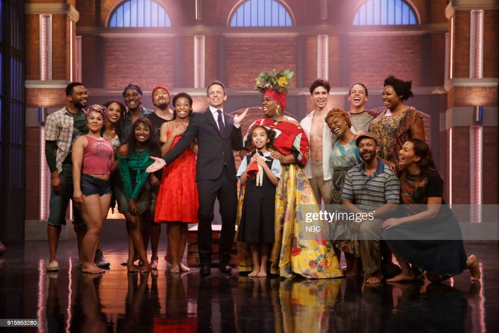 Host Seth Meyers (center) with cast of 'Once on This Island' on February 8, 2018 --