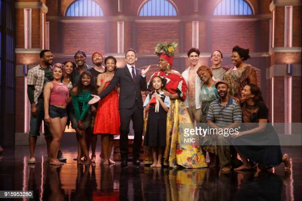 Host Seth Meyers with cast of 'Once on This Island' on February 8 2018