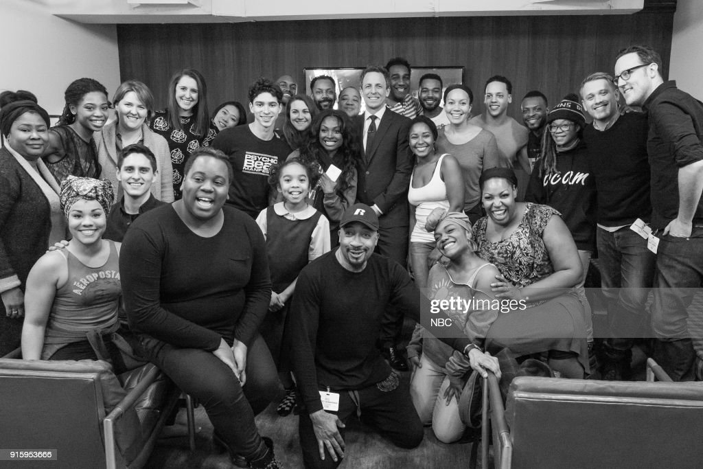 MEYERS -- (EXCLUSIVE COVERAGE) -- Episode 649 -- Pictured: Host Seth Meyers (center) with the cast of 'Once on This Island' on February 8, 2018 --