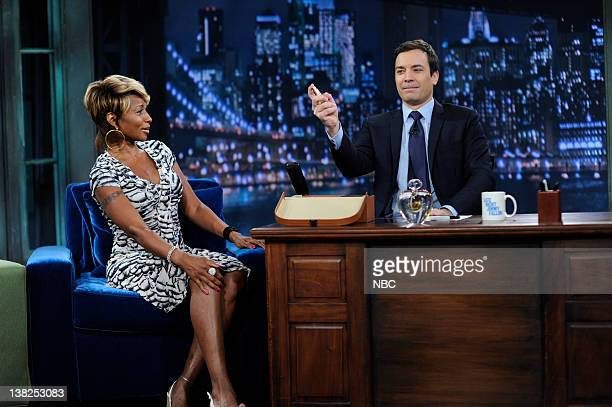 FALLON Episode 65 Airdate Pictured Singer Mary J Blige during an interview with host Jimmy Fallon on June 12 2009