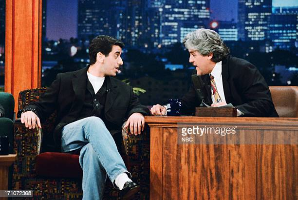 Comedian Jeff Cesario during an interview with host Jay Leno on March 13 1995