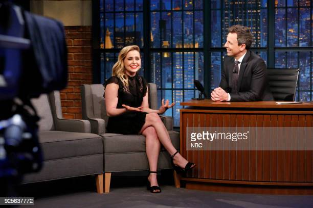 Actress Mae Whitman during an interview with host Seth Meyers on February 28 2018