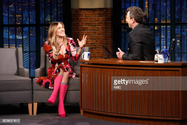 Actress Sarah Jessica Parker during an interview with host Seth Meyers on February 28 2018