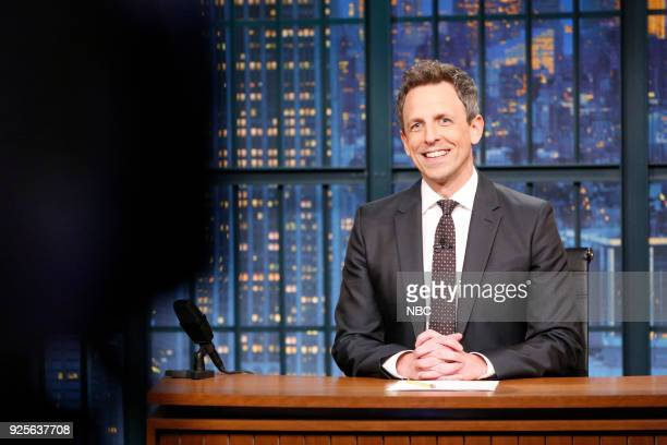 Host Seth Meyers at his desk during the monologue on February 28 2018