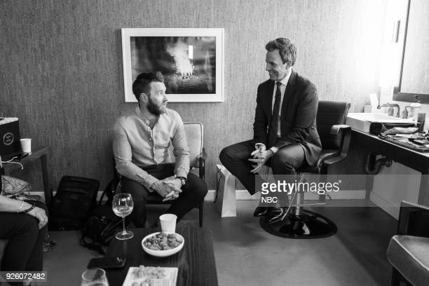 MEYERS Episode 653 Pictured Actor Joel Edgerton talks with host Seth Meyers backstage on March 1 2018