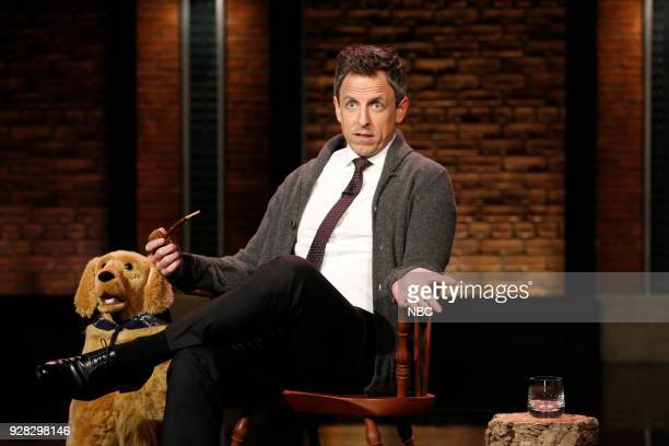 Host Seth Meyers during the sketch 'Back in My Day' on March 6 2018