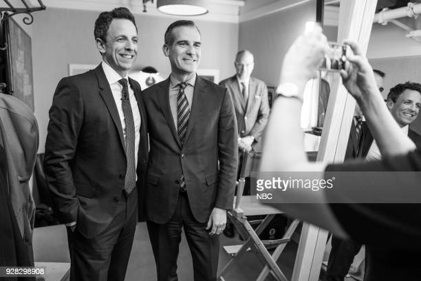 MEYERS Episode 655 Pictured Host Seth Meyers takes a picture with Mayor Eric Garcetti backstage on March 6 2018