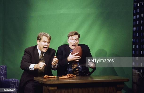 BRIEN Episode 656 Air Date Pictured Andy Richter host Conan O'Brien during the 'Desk Drive' skit on September 19 1996 Photo by Lesly Weiner/NBCU...