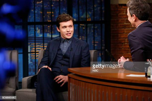 Actor Nick Robinson during an interview with host Seth Meyers on March 7 2018