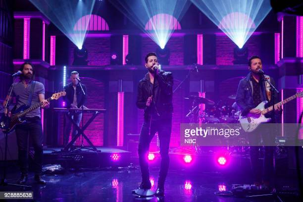 Geoff Sprung Trevor Rosen Matthew Ramsey Whit Sellers and Brad Tursi of musical guest Old Dominion perform on March 7 2018