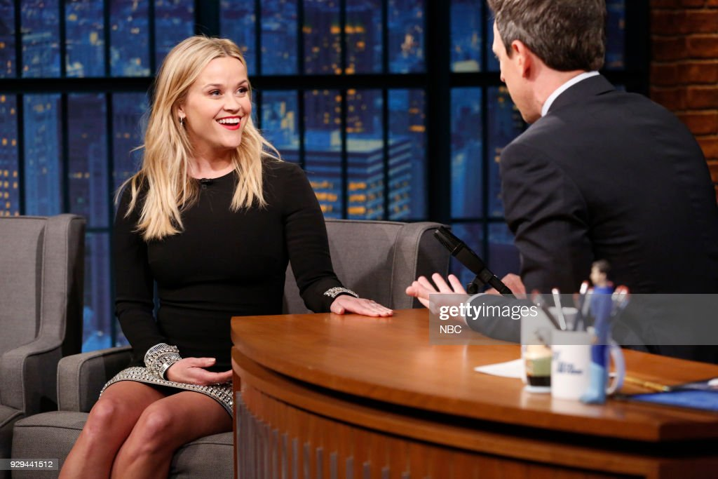 Actress Reese Witherspoon during an interview with host Seth Meyers on March 8, 2018 --