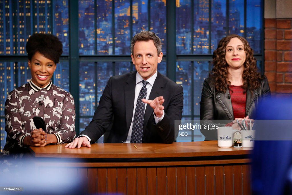 Amber Ruffin, host Seth Meyers and Jenny Hagel during 'Jokes Seth Can't Tell' sketch on March 8, 2018 --