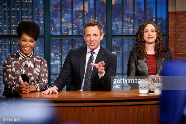 Amber Ruffin host Seth Meyers and Jenny Hagel during 'Jokes Seth Can't Tell' sketch on March 8 2018