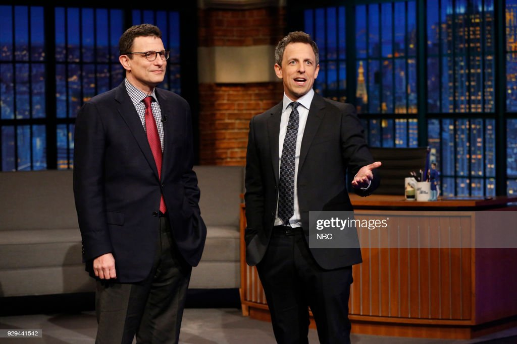Editor of The New Yorker, David Remnick, during an interview with host Seth Meyers on March 8, 2018 --