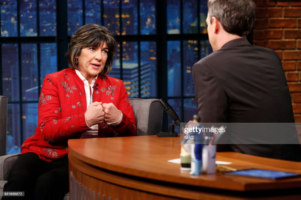 Journalist Christiane Amanpour during an interview with host Seth Meyers on March 13, 2018 --