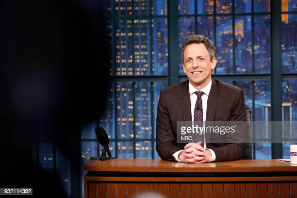 Host Seth Meyers at his desk during the monologue on March 14 2018