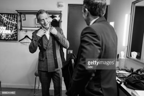 MEYERS Episode 664 Pictured Actor Ben Mendelsohn talks with host Seth Meyers backstage on March 21 2018