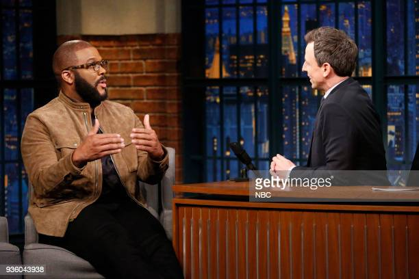 Actor/director Tyler Perry during an interview with host Seth Meyers on March 21 2018