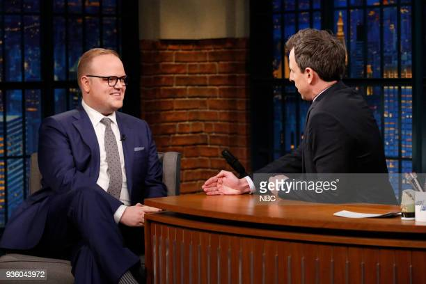 Author McKay Coppins during an interview with host Seth Meyers on March 21 2018