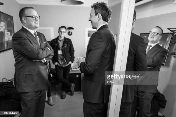 MEYERS Episode 664 Pictured Author McKay Coppins talks with host Seth Meyers on March 21 2018