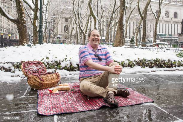 MEYERS Episode 664 Pictured John Lutz during the 'Spring in New York' sketch on March 21 2018