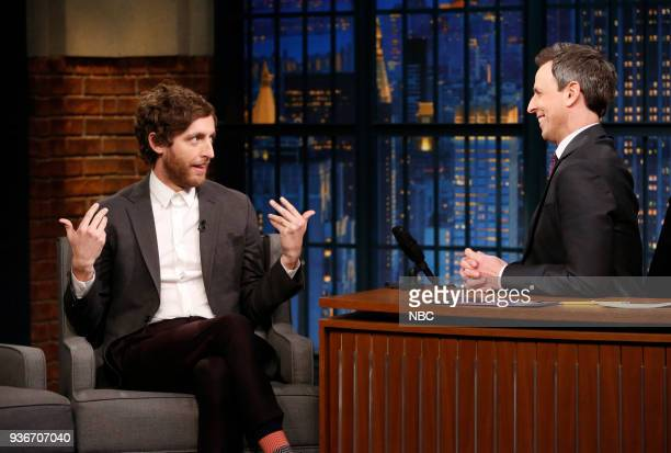 Actor Thomas Middleditch during an interview with host Seth Meyers on March 22 2018