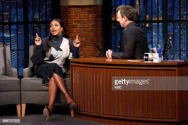 Actress Taraji P Henson during an interview with host Seth Meyers on March 22 2018