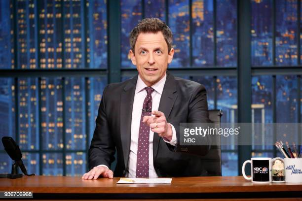 Host Seth Meyer during the monologue on March 22 2018