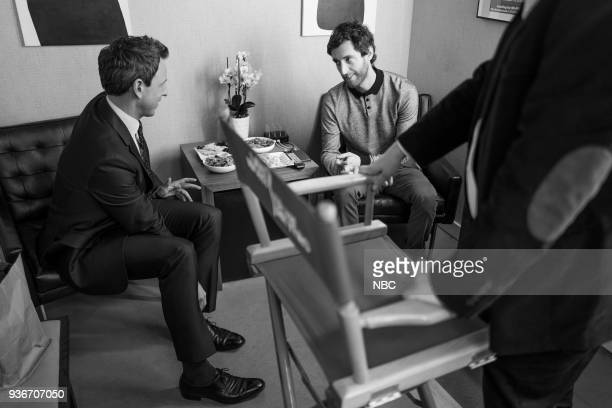 MEYERS Episode 665 Pictured Host Seth Meyers talks with actor Thomas Middleditch backstage on March 22 2018
