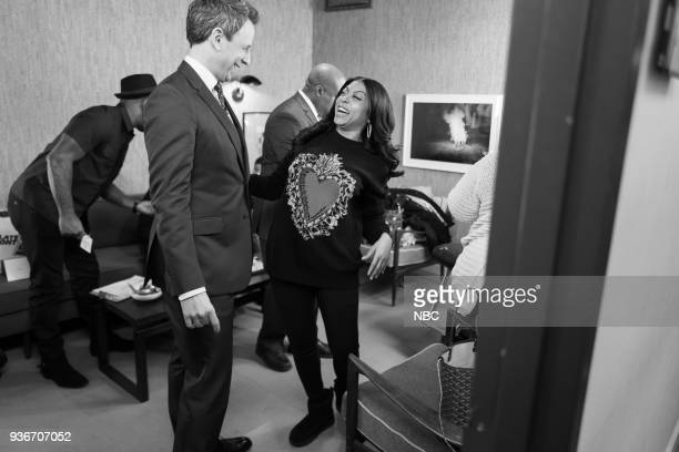MEYERS Episode 665 Pictured Host Seth Meyers talks with actress Taraji P Henson backstage on March 22 2018