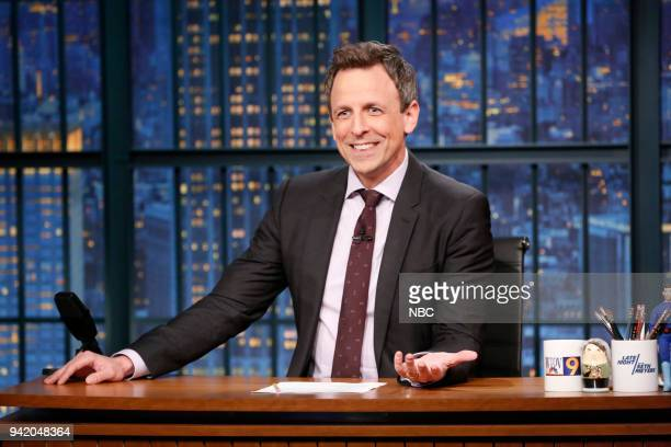 Host Seth Meyers at his desk during the monologue on April 4 2018