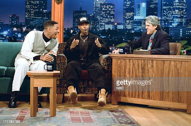 Actor Will Smith actor Martin Lawrence during an interview with host Jay Leno on April 14 1995