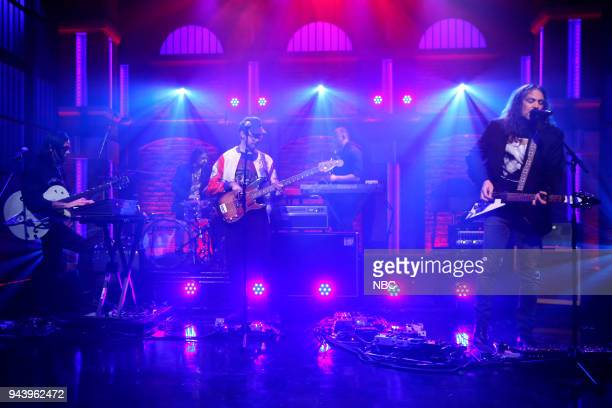 Anthony LaMarca David Hartley and Adam Granduciel of musical guest 'The War on Drugs' peform on April 9 2018