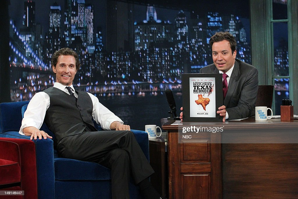 Actor Matthew McConaughey during an interview with host Jimmy Fallon on July 24, 2012 --